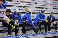 SCHAATSEN: CALGARY: Olympic Oval, 10-11-2013, Essent ISU World Cup, Viktor Kostenko (KAZ), Vadim Sayutin (trainer/coach KAZ), Sergey Klevchenya (trainer/coach KAZ), ©foto Martin de Jong