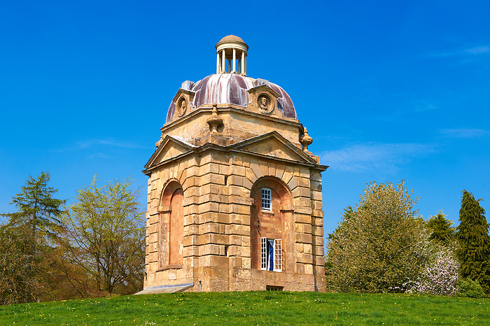 "The late Baroque ""Pepper Pots"" at the west entrance to Stowe House, Buckingham, England"