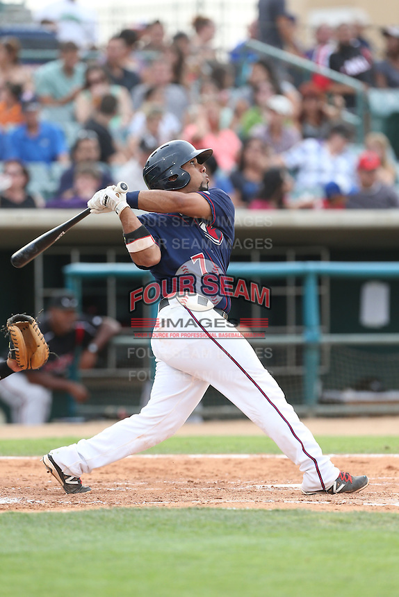 Jobduan Morales #7 of the Lancaster JetHawks bats against the Lake Elsinore Storm at The Hanger on August 2, 2014 in Lancaster, California. Lake Elsinore defeated Lancaster, 5-1. (Larry Goren/Four Seam Images)