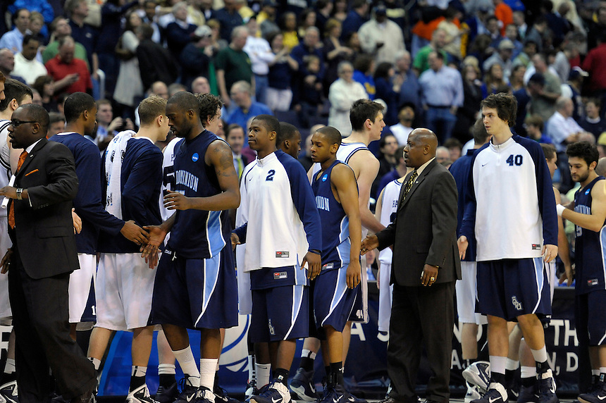 Players from both sides come together after the game. Butler defeated Old Dominion 60-58 during the NCAA tournament at the Verizon Center in Washington, D.C. on Thursday, March 17, 2011. Alan P. Santos/DC Sports Box