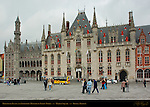 Provincial Palace and Neogothic Ministry of Public Works, Market Square, Bruges, Brugge, Belgium