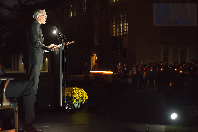 November 14, 2016; University President Rev. John I. Jenkins, C.S.C. offers a reflection during an Interfaith Prayer Service for Respect and Solidarity in front of O'Shaughnessy Hall. (Photo by Matt Cashore/University of Notre Dame)