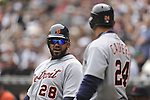 CHICAGO - APRIL 13:  Prince Fielder #28 talks to Miguel Cabrera #24 of the Detroit Tigers during the game against the Chicago White Sox on April 13, 2012 bats U.S. Cellular Field in Chicago, Illinois.  The White Sox defeated the Tigers 5-2.  (Photo by Ron Vesely)   Subject:  Prince Fielder; Miguel Cabrera