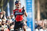 Greg Van Avermaet (BEL) BMC Racing Team wins the 60th edition of the Record Bank E3 Harelbeke 2017, Flanders, Belgium. 24th March 2017.<br /> Picture: Jim Fryer/BrakeThrough Media   Cyclefile<br /> <br /> <br /> All photos usage must carry mandatory copyright credit (&copy; Cyclefile   Yuzuru Sunada)