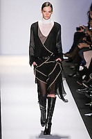 Sara Blomqvist walks the runway in an out by Max Azria, for the BCBGMAXAZRIA Fall 2011 fashion show, during Mercedes Benz Fashion Week.