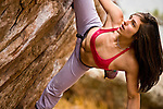 Bouldering competitor Alex Puccio bouldering on Flagstaff Mountain near her home town of Boulder Colorado.