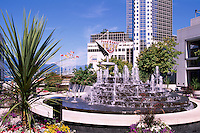 """Vancouver, BC, British Columbia, Canada - Water Fountain at """"Waterfront Centre"""" overlooking """"Canada Place"""" Trade and Convention Centre"""