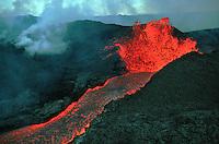 Volcanic Eruption on Mauna Loa, at 9,500 ft., The Big Island of Hawaii (volcano). Hawaii USA Mauna Loa.