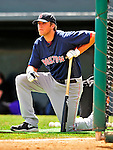 14 March 2009: Boston Red Sox' infielder Lars Anderson awaits his turn in the batting cage prior to a Spring Training game against the Baltimore Orioles at Fort Lauderdale Stadium in Fort Lauderdale, Florida. The Orioles defeated the Red Sox 9-8 in the Grapefruit League matchup. Mandatory Photo Credit: Ed Wolfstein Photo