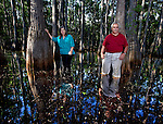 Anne and Jack Rudloe in a cypress swamp on their property in Panacea, Florida May 10, 2009  (Mark Wallheiser/TallahasseeStock.com)