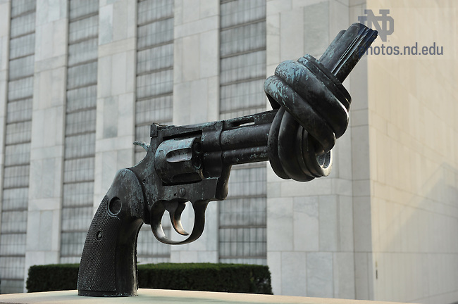 Sculpture outside United Nations headquarters, New York City..Photo by Matt Cashore/University of Notre Dame