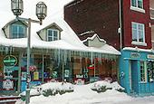 grainy shot of a winter street scenic,  the Bavarois bar in Joliette