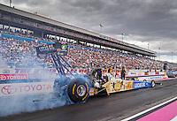 Oct 28, 2016; Las Vegas, NV, USA; NHRA top fuel driver Morgan Lucas during qualifying for the Toyota Nationals at The Strip at Las Vegas Motor Speedway. Mandatory Credit: Mark J. Rebilas-USA TODAY Sports