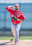 25 February 2016: Washington Nationals pitcher Yusmeiro Petit throws during the first full squad Spring Training workout at Space Coast Stadium in Viera, Florida. Mandatory Credit: Ed Wolfstein Photo *** RAW (NEF) Image File Available ***