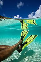 Split level look at a snorkeler's legs and fins<br /> Hawksnest Beach<br /> Virgin Islands National Park<br /> St. John, U.S. Virgin Islands