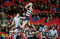 James Phillips of Bristol Rugby wins the ball at a lineout. European Rugby Challenge Cup match, between Bristol Rugby and Bath Rugby on January 13, 2017 at Ashton Gate Stadium in Bristol, England. Photo by: Patrick Khachfe / Onside Images