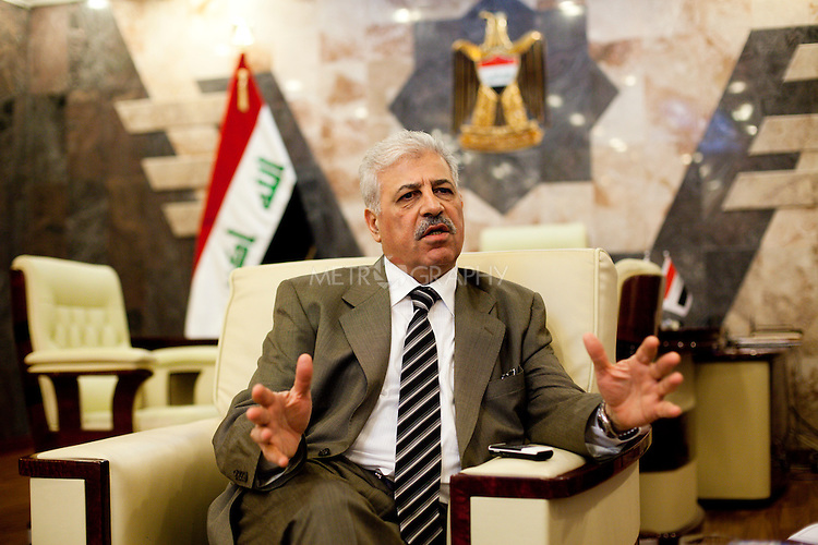 MOSUL, IRAQ : Atheel al Nujaifi, the governor of Mosul, speaks to Ben Lando of the Iraq Oil Report during an interview.