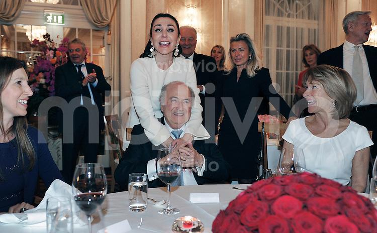 Zuerich, 10.03.2016 Ex-FIFA-Praesident Joseph Sepp Blatter (Mitte) feiert seinen 80. Geburtstag mit Freundin Linda Barras