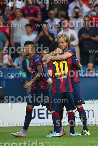 06.06.2015, Olympia Stadion, Berlin, GER, UEFA CL, Juventus Turin vs FC Barcelona, Finale, im Bild Lionel Messi (FC Barcelona #10), Luis Suarez (FC Barcelona #9) und Ivan Rakitic (FC Barcelona #4) beim Torjubel nach dem Treffer zum 1:0 // during the UEFA Champions League final match between Juventus FC and Barcelona FC at the Olympia Stadion in Berlin, Germany on 2015/06/06. EXPA Pictures &copy; 2015, PhotoCredit: EXPA/ Eibner-Pressefoto/ Sch&uuml;ler<br /> <br /> *****ATTENTION - OUT of GER*****