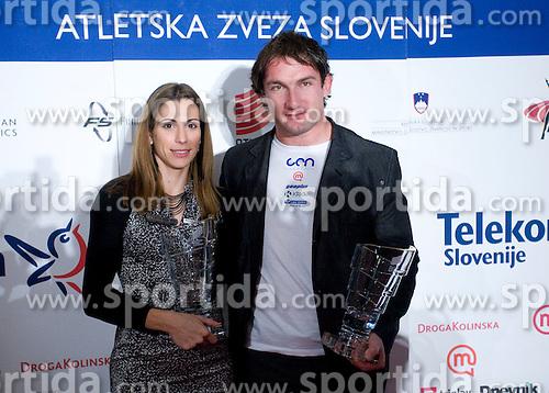 Marija Sestak and Primoz Kozmus, Best Slovenian athletes of the year at ceremony, on November 15, 2008 in Hotel Lev, Ljubljana, Slovenia. (Photo by Vid Ponikvar / Sportida)