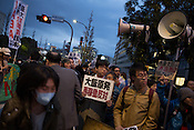Anti-nuclear demonstration, and protest against the proposed restarting of the Oi nuclear plant in Fukui, in the streets outside the Prime Minister's residence and government buildings, in Tokyo Japan on Friday 6th April 2012. Japan has also announced new safety measures for the restarting of nuclear plants which are currently offline undergoing safety checks and tests.