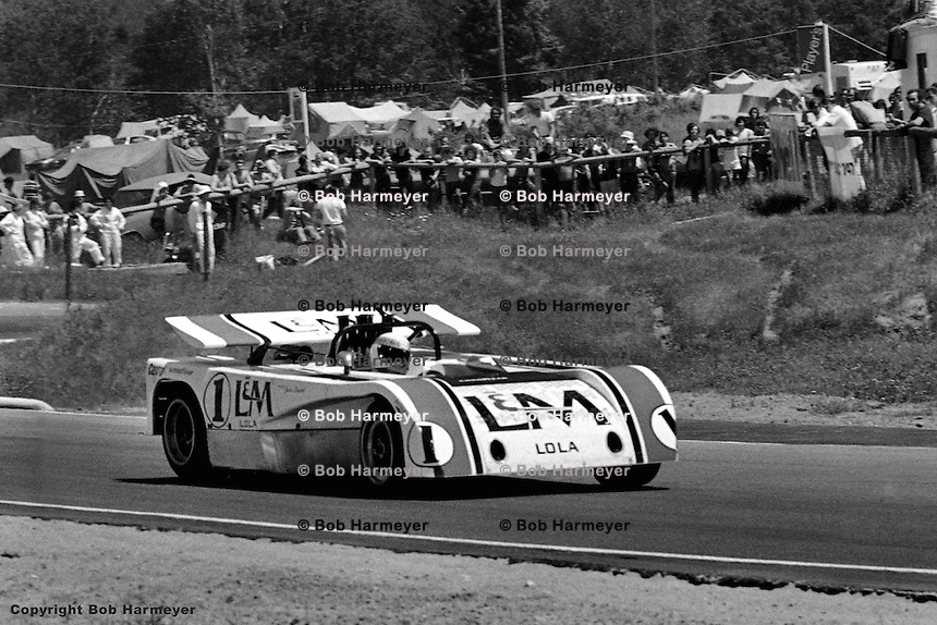 Jackie Stewart drives the 1971 L&M Lola Chevrolet Can-Am car at Le Circuit Mont Tremblant/St. Jovite, Quebec, Canada.