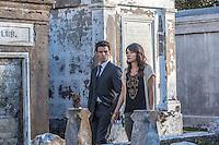 "Daniel Gillies as Elijah and Daniella Pineda as Sophie in the The Vampire Diaries spinoff ""The Originals"""