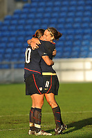 USA forward Lauren Cheney celebrates her goal with Abby Wambach. The USA captured the 2010 Algarve Cup title by defeating Germany 3-2, at Estadio Algarve on March 3, 2010.
