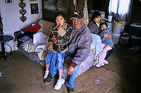New Mexico, Navaho Indian Reservation.Families living in their hogan homes with no running water.