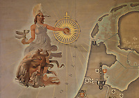 Detail compass from 1 of 2 monumental paintings by Hordjik and Doevel, with maps representing the colonial grandeur of the Empire, in the Grand Salon of the College Neerlandais, or Dutch College, designed by Willem Marinus Dudok, 1884-1974, and inaugurated in 1938, in the Cite Internationale Universitaire de Paris, in the 14th arrondissement of Paris, France. This is the only building in France designed by Dudok, one of the leading architects from the Dutch school of the 1920s and 1930s. The building is listed as a historic monument. The CIUP or Cite U was founded in 1925 after the First World War by Andre Honnorat and Emile Deutsch de la Meurthe to create a place of cooperation and peace amongst students and researchers from around the world. It consists of 5,800 rooms in 40 residences, accepting another 12,000 student residents each year. Picture by Manuel Cohen. Further clearances may be requested.