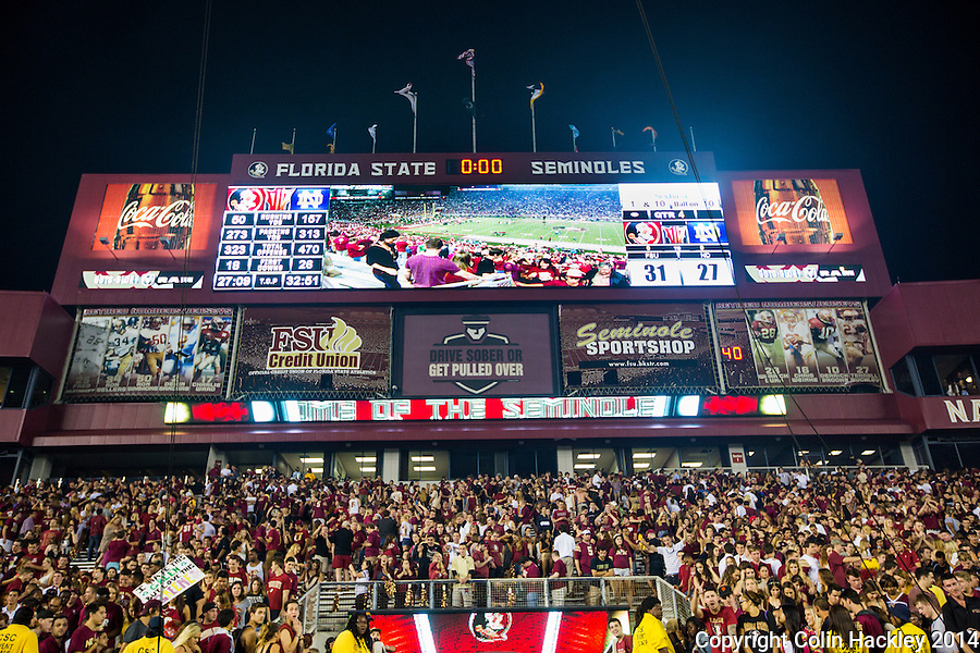 TALLAHASSEE, FLA. 10/18/14-FSU-ND101814CH-The scoreboard after Florida State beat Notre Dame 31-27 Saturday at Doak Campbell Stadium in Tallahassee.<br /> COLIN HACKLEY PHOTO
