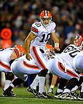 17 November 2008:  Cleveland Browns' quarterback Brady Quinn calls out play numbers against the Buffalo Bills at Ralph Wilson Stadium in Orchard Park, NY. The Browns defeated the Bills 29-27 in the Monday Night AFC matchup. *** Editorial Sales Only ****..Mandatory Photo Credit: Ed Wolfstein Photo