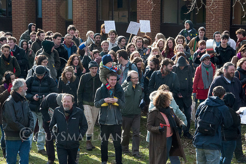 Protest and occupation at East Sussex University 21-2-13 Students and workers protest on the campus of Sussex University over the privatsation of college services. Also in support of students whom have occupied the lecture theatre over the issue.