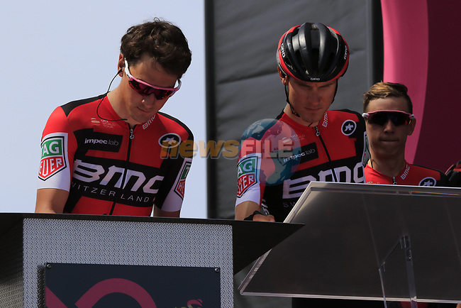 BMC Racing Team at sign on before Stage 1 of the 100th edition of the Giro d'Italia 2017, running 206km from Alghero to Olbia, Sardinia, Italy. 4th May 2017.<br /> Picture: Eoin Clarke | Cyclefile<br /> <br /> <br /> All photos usage must carry mandatory copyright credit (&copy; Cyclefile | Eoin Clarke)