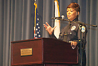 Santa Monica Police Chief Jacqueline Seabrooks speaks after swearing-in at the Santa Monica Civic Auditorium on Tuesday, May 29, 2012. Seabrooks is the first female and 16th Chief of the Santa Monica Police Department.
