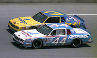 Terry Labonte 44 Dale Earnhardt 3 action Pepsi Firecracker 400 at Daytona International Speedway in Daytona Beach, FL on July 4, 1985. (Photo by Brian Cleary/www.bcpix.com)