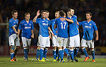 St Johnstone v FC Luzern...24.07.14  Europa League 2nd Round Qualifier<br /> Dave Mackay congratulates Stevie May after he scored his peanlty<br /> Picture by Graeme Hart.<br /> Copyright Perthshire Picture Agency<br /> Tel: 01738 623350  Mobile: 07990 594431