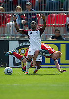 17 September 2011: Colorado Rapids midfielder Sanna Nyassi #23 and Toronto FC defender Richard Eckersley #27 in action during a game between the Colorado Rapids and Toronto FC at BMO Field in Toronto..Toronto FC won 2-1.