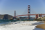 San Francisco: Baker Beach with Golden Gate Bridge in background.  Photo # 2-casanf83411.  Photo copyright Lee Foster