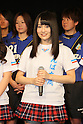 Sayaka Yamamoto (NMB48), .FEBRUARY 16, 2012 - Football / Soccer : Speranza FC Osaka Takatsuki Press conference at NMB48 Theater in Osaka, Japan. Japanese ladies soccer team Speranza FC Osaka Takatsuki hold a joint press conference with members of NMB48, the Osaka version of the popular AKB48 idol group. Both women's soccer and girls idol groups are hugely popular in Japan after the national team's success at the Womens Soccer World Cup and the growing success of AKB48.
