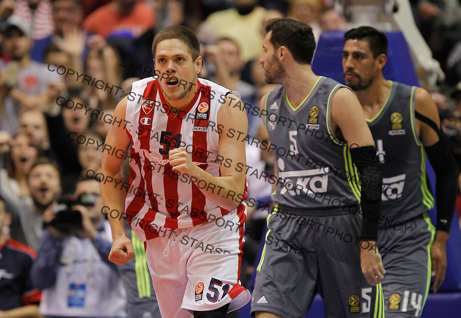 Kosarka Euroleague season 2015-2016<br /> Euroleague <br /> Crvena Zvezda v Real Madrid<br /> Vladimir Stimac (L) celebrates near Rudy Fernandez  and Gustavo Ayon<br /> Beograd, 27.11.2015.<br /> foto: Srdjan Stevanovic/Starsportphoto &copy;