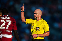 Referee Allen Chapman gives a red card to Je-Vaughn Watson (27) of FC Dallas. The Philadelphia Union and FC Dallas played to a 2-2 tie during a Major League Soccer (MLS) match at PPL Park in Chester, PA, on June 29, 2013.