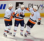 3 February 2007: New York Islanders right wing forward Miroslav Satan (81) of Slovakia celebrates scoring against the Montreal Canadiens with teammates Viktor Kozlov (25) of Russia and Chris Simon (12) at the Bell Centre in Montreal, Canada. The Islanders defeated the Canadiens 4-2.Mandatory Photo Credit: Ed Wolfstein Photo *** Editorial Sales through Icon Sports Media *** www.iconsportsmedia.com
