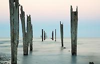 Onekaka Pier at dusk, Golden Bay, New Zealand