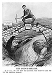 """The Bridge-Breaker. Mr. de Valera. """"If I can shift this keystone, that ought to clear the way for something dramatic."""" (de Valera prepares to hack away the Governor-Generalship keystone to the Commonwealth Bridge made up of the Oath of Allegiance and Annuities, while standing on it above a river)"""