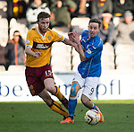 Motherwell v St Johnstone...31.01.15    SPFL<br /> Mark O'Brien and Steven MacLean<br /> Picture by Graeme Hart.<br /> Copyright Perthshire Picture Agency<br /> Tel: 01738 623350  Mobile: 07990 594431