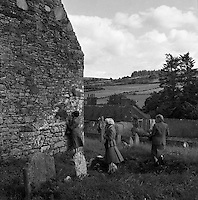 Cemetry at Ballyvoureen, Co Cork .14/07/1958. Ballyvourney is a Gaeltacht village in south-west County Cork, Ireland. Ballyvourney, Baile Bhuirne is a small village in Co. Cork that shelters a locally famous pilgrimage named after a supposed sixth-century Abbess: St. Gobnet. Gobnet, who may have been the brother of a more senior contemporary saint, Abban is generally depicted with a bee-hive, a reference to a story in which she defended herself and her followers from a group of raiders through prayer and the judicious application of bee stings! In the early fifties it was decided by the people of Ballyvourney that a statue of St Gobnet should be erected close to the location of a holy well and a circular stone structure known as St Gobnet's House or Kitchen and long supposed to be the foundations of a round tower. Ballyvourney During construction of the statue a crucible was found and it was decided that M.J. O'Kelly from University College Cork (excavator of Newgrange) should be invited to carry out an archaeological excavation.Irish Historical Pictures of Ballyvourney, Baile Bhuirne  Co. Cork, Ireland.<br />