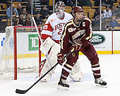 Matt O'Connor (BU - 29), Patrick Brown (BC - 23) - The Boston College Eagles defeated the Boston University Terriers 3-1 (EN) in their opening round game of the 2014 Beanpot on Monday, February 3, 2014, at TD Garden in Boston, Massachusetts.