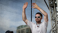 BRAZIL, Itajai.10th April 2012. Volvo Ocean Race. Brad Marsh, Bowman, Groupama celebrates finishing third on Leg 5 of the Volvo Ocean Race.