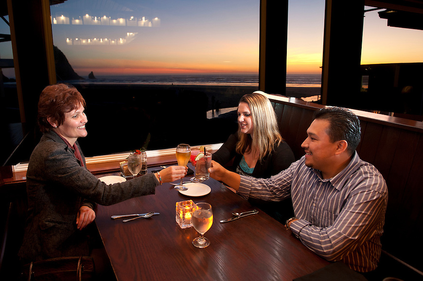 Dinner at Wayfarer Restaurant,Cannon beach,Oregon Coast,Oregon,USA.(model release: 0009,0141,0142)